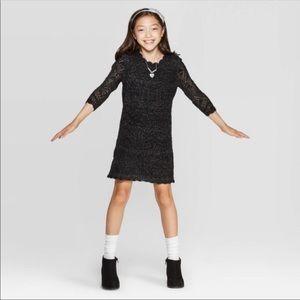 Black Shine Crochet Sweater Dress